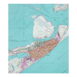 Vintage Map of Galveston Texas (1954) 2 Poster