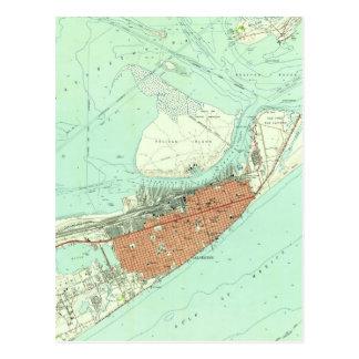 Vintage Map of Galveston Texas (1954) 3 Postcard