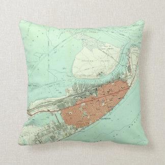 Vintage Map of Galveston Texas (1954) 3 Throw Pillow