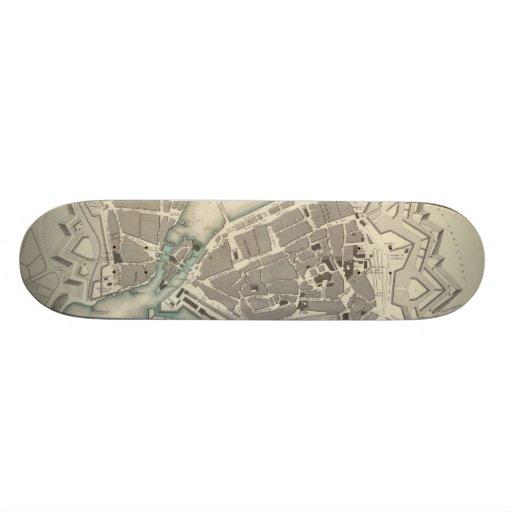Vintage Map of Geneva (1841) Skateboard