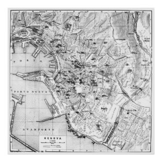 Vintage Map of Genoa Italy (1906) Poster