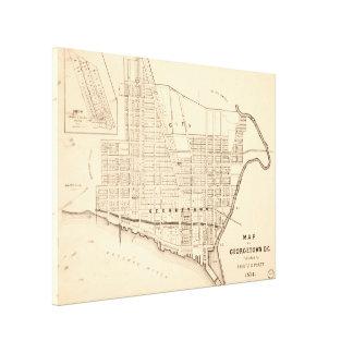 Vintage Map of Georgetown (Washington D.C.) 1876 Canvas Print