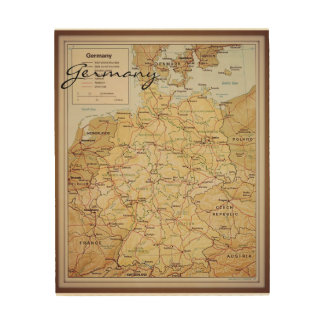 Vintage map of Germany wood wall art