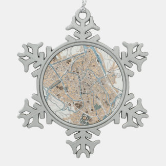 Vintage Map of Ghent Belgium (1905) Pewter Snowflake Ornament