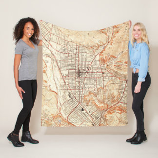 Vintage Map of Glendale California (1928) Fleece Blanket