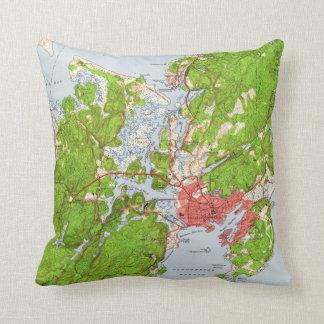 Vintage Map of Gloucester Massachusetts (1949) Throw Pillow