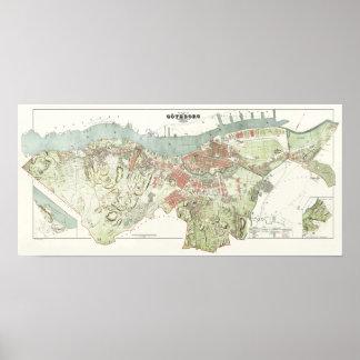 Vintage Map of Gothenburg, Sweden Poster