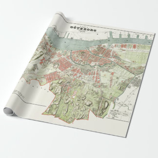 Vintage Map of Gothenburg, Sweden Wrapping Paper