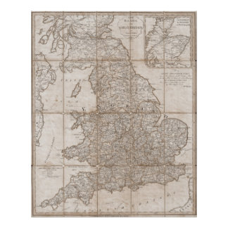 vintage map of Great Britain 1790 Poster