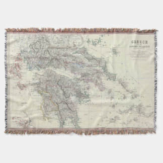 Vintage Map of Greece (1861) Throw Blanket
