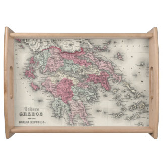 Vintage Map of Greece 1865 Service Tray