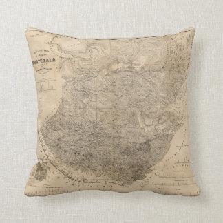 Vintage Map of Guatemala (1859) Throw Pillow