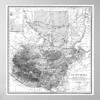 Vintage Map of Guatemala (1902) BW Poster