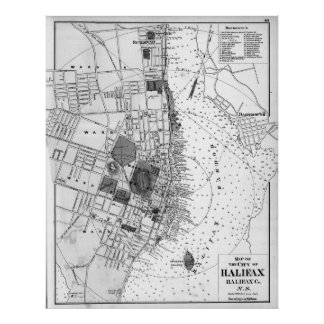 Vintage Map of Halifax Nova Scotia (1878) BW Poster