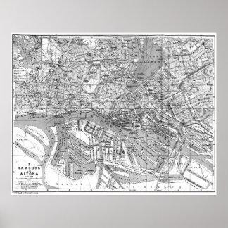 Vintage Map of Hamburg Germany (1910) 2 BW Poster