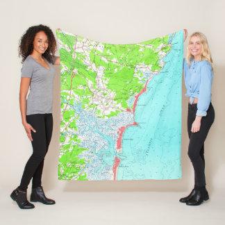 Vintage Map of Hampton Beach New Hampshire (1957) Fleece Blanket