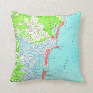Vintage Map of Hampton Beach New Hampshire (1957) Throw Pillow
