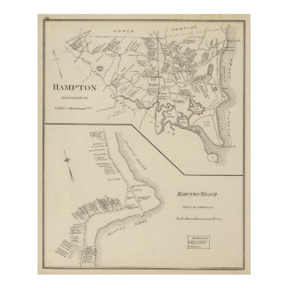 Vintage Map of Hampton Beach NH (1892) Poster