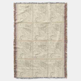 Vintage Map of Hampton Beach NH (1892) Throw Blanket