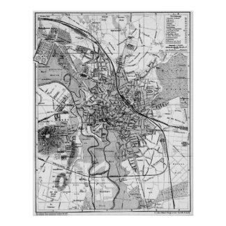 Vintage Map of Hanover Germany (1895) BW Poster
