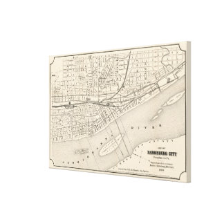 Vintage Map of Harrisburg PA (1877) Canvas Print