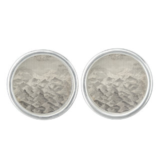 Vintage Map of Hills and Mountains in UK 1837 Cufflinks