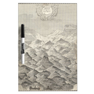 Vintage Map of Hills and Mountains in UK 1837 Dry Erase Board