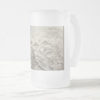 Vintage Map of Hills and Mountains in UK 1837 Frosted Glass Beer Mug