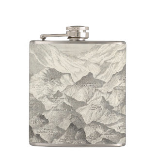 Vintage Map of Hills and Mountains in UK 1837 Hip Flask