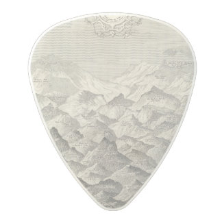 Vintage Map of Hills and Mountains in UK 1837 Polycarbonate Guitar Pick