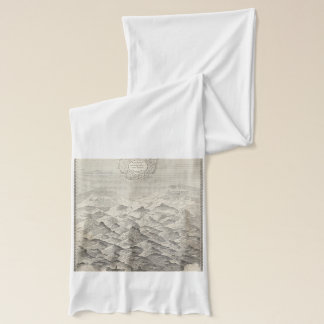 Vintage Map of Hills and Mountains in UK 1837 Scarf
