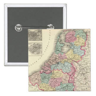 Vintage Map of Holland and Belgium (1856) Pinback Button