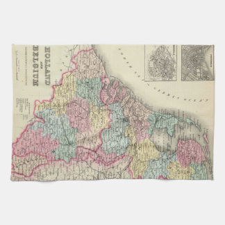 Vintage Map of Holland and Belgium (1856) Kitchen Towel