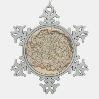 Vintage Map of Hungary (1817) Snowflake Pewter Christmas Ornament