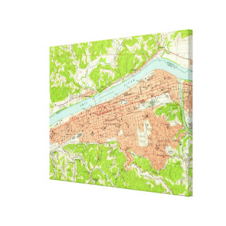 Vintage Map of Huntington West Virginia (1957) Canvas Print