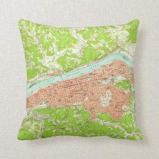 Vintage Map of Huntington West Virginia (1957) Throw Pillow