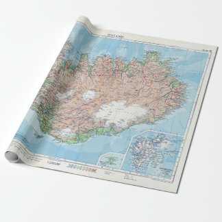 Vintage Map of Iceland Wrapping Paper