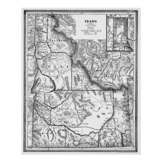 Vintage Map of Idaho (1883) BW Poster