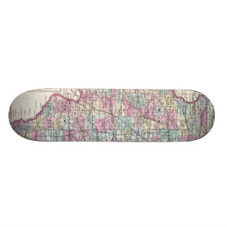 Vintage Map of Illinois (1855) Skate Board Deck