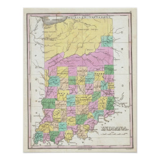 Vintage Map of Indiana (1827) Poster