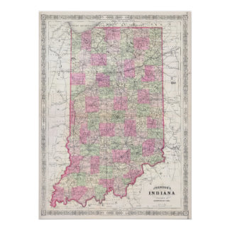Vintage Map of Indiana (1864) Poster