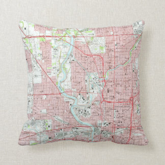 Vintage Map of Indianapolis Indiana (1967) Throw Pillow