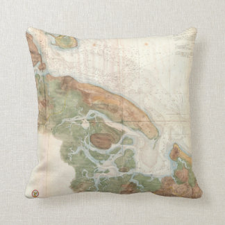 Vintage Map of Ipswich and Annisquam Harbor (1857) Throw Pillow