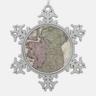 Vintage Map of Ireland (1716) Snowflake Pewter Christmas Ornament