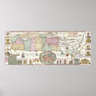 Vintage Map of Israel (1632) Poster