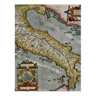 Vintage Map of Italy (1584) Post Card