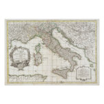 Vintage Map of Italy (1770) Print