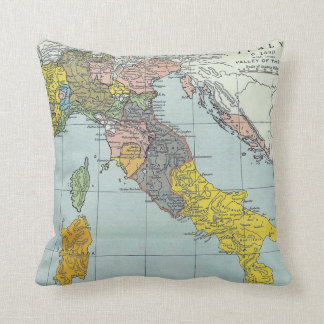 Vintage Map of Italy (1912) Throw Pillow