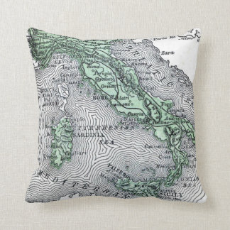 Vintage Map of Italy Throw Pillow