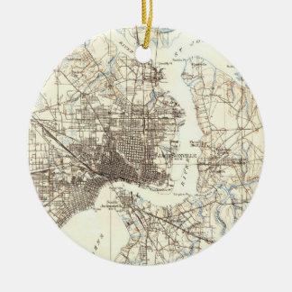 Vintage Map of Jacksonville Florida (1918) Ceramic Ornament